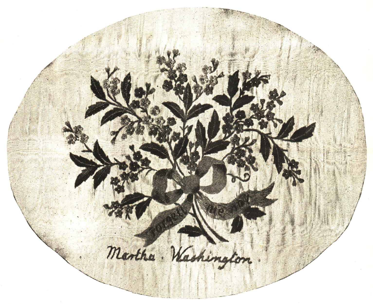 Forget-me-not embroidered signed Martha Washington