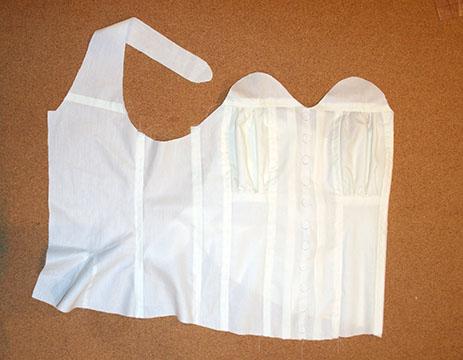 Reform corset mocked up in muslin.