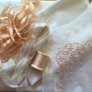 Camisole sample with lace and ribbons.