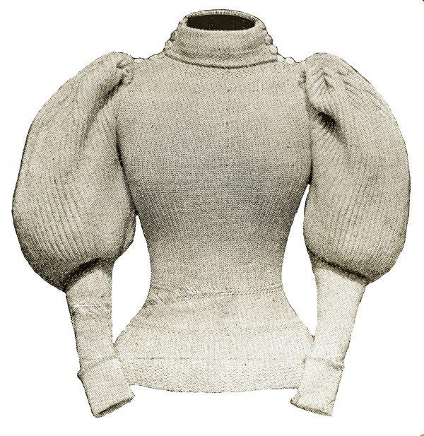 1897 leg-of-mutton sleeve sweater - original magazine image