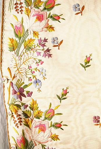 18th c. men's waistcoat embroidered with violets and roses