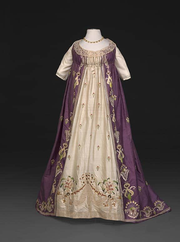 late 18th c violet silk embroidered gown